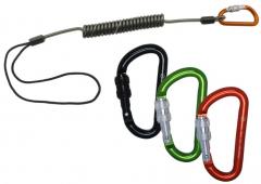 Aliens - Spiralkabel 6mm/69cm mit Schlaufe + Minikarabiner Classic Schraube, hellgrün