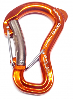 Grivel - Sicherheitskarabiner Clepsydra S Twin Gate, orange eloxiert