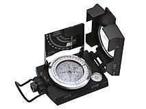 Baladeo - Peilkompass Topo II Metall, Klinometer, Wasserwage, Lederetui, schwarz