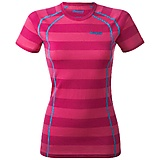 Bergans - Fjellrapp Merino Lady Tee, hot pink striped, Gr. XS