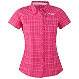 Bergans - Trekkingbluse Langli Lady Short Sleeve Shirt, hot pink checked, Gr. S