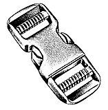 Basic Nature - Kunststoff Steckschließe Dual/Stealth buckle, black, 25 mm